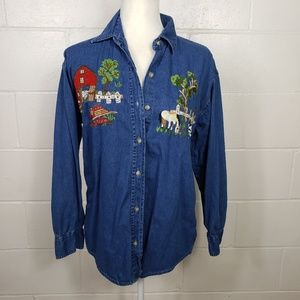 Vintage Farm Scene Embroidered Chambray Top